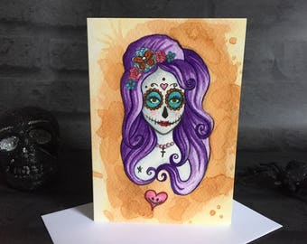 Greeting Card - Day of the Dead - Blank Inside Skull Flowers Floral Pretty Pastel Goth Gothic Rock Rocker Mexican Death Corpse Valentines