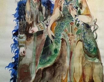 Les Lumieres Original Painting Surreal Couple Thranduil Loki King Queen Blue Fur Coat Chandelier Crown Byzantine Lady Flower Gown Deco