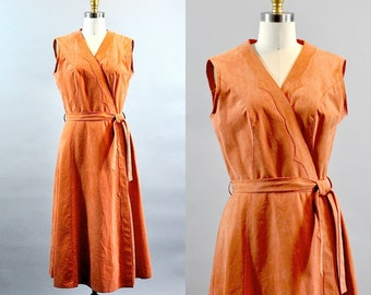 Vintage 1970s Orange Ultrasuade Wrapped Dress. Orange Wrapped Sleeveless Dress. Suede Look Wrapped Dress. Fall Winter Wrapped A-line Dress.