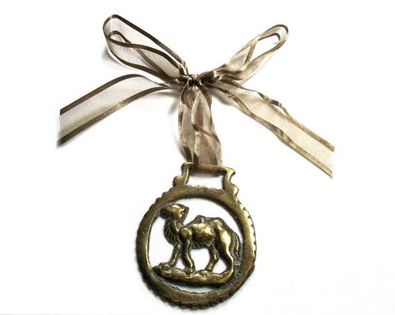 Vintage Camel Horse Brass on Ribbon