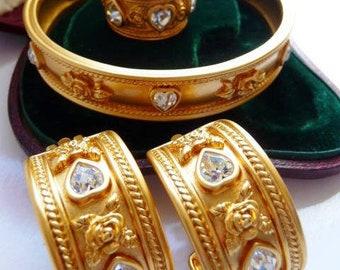Elizabeth Taylor Avon jewelry set   Love Blooms clip earrings ring bracelet   Russian matte gold vintage jewelry   ring US 7.5   1995