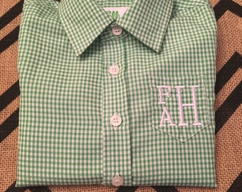 Preppy Gingham Monogrammed Button-down shirt