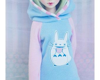 Slim MSD Minifee or SD BJD Hoodie - Heart Totoro