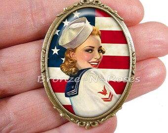 PIN I love America flag red cabochon pin glass United States