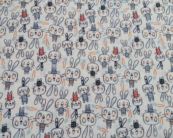 Kids fabric - rabbits... Easter bunnies... Fabric width 160cm