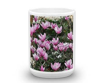 pink Magnolia ceramic mug unique great gift