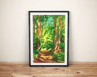 "Forest – Original Oil Painting on Paper – 11""x15,7"" (28x40 cm)"
