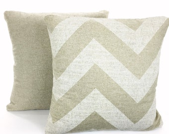 Tan Pillow Covers, Decorative Throw Pillows, Cushions, Natural Off White Cloud Denton Burlap-Like, Neutral Set of Two Various Sizes