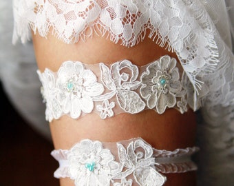 Wedding Garter Set Bridal Garter Belt - Ivory Blue Garter Lace Garters Belts - Keepsake Garter Toss Garter - Something Blue Wedding Gift