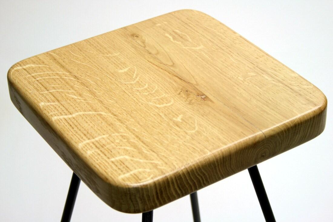 Barhocker, Arbeitshocker, Küche Stuhl, Barhocker, reine Eiche und Stahl, minimalistisches Design, Handarbeit - Notre - dunkle untere version