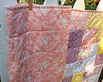 Elegant Baby Crib Quilt Shabby Chic Pastel Pinks White Washed Cottage Fabric by Moda