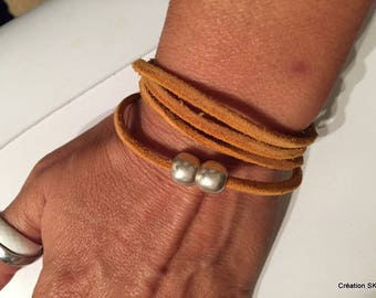 women leather bracelet raw Sienna 4 rounds of free shipping in France