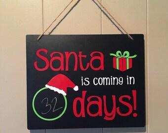 Chalkboard sign - santa countdown sign - christmas countdown - christmas chalkboard sign - chalkboard countdown - santa chalkboard sign