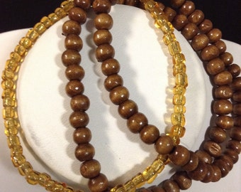 Sale Three Strand Wooden and Amber Crystal Beads