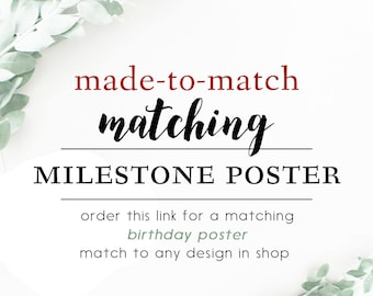 Mathching Milestone Poster First Birthday Sign Poster, Mileston Poster, 1st Birthday All About Me Sign Poster - Match to any design in shop