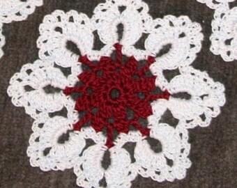 4 Crochet coaster mini doily White Burgundy
