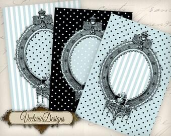 Blue Black dots and stripes ATC vintage images digital background instant download printable collage sheet VD0699