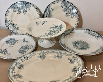Reserved Set of Birds, Flowers and Butterflies Antique French Ironstone Transferware Plates Serving Charger, Large Bowl