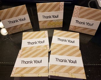 SALE 7 Mini Thank you cards hand stamped orders 3x3 tan chevron  perfect for your Etsy orders