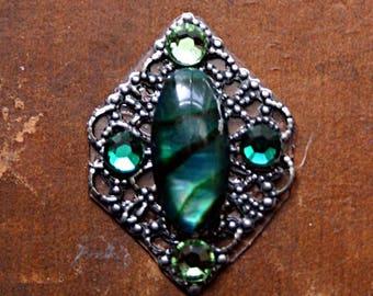 Beryl Green Paua Shell Bindi - Gemstone, Facial Jewelry, Forehead Adornment, Steampunk, Cosplay, Tribal Fusion, Belly Dance, Teal, Mermaid