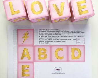 Baby shower centerpiece block, Printable pink and gold baby shower decor, Pink Baby Name Blocks, Printable pink party decor instant download