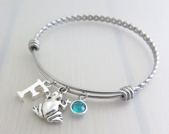 Frog Charm Stainless Steel Bangle, Birthstone Initial Bangle, Personalised Silver Letter Charm Bracelet, Animal Bangle, Frog Gift