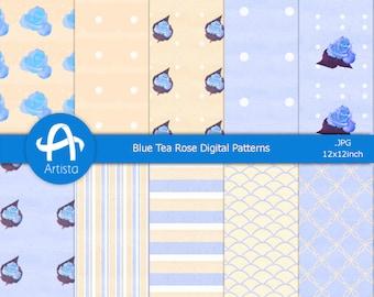 Rose Digital Paper Good Blue Vintage Patterns Download Texture