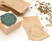 Seed packet stamp #02, flower wreath stamp, botanical stamp, Stamp gift for gardener, seed packet wedding, Gardening Gift, gardening craft