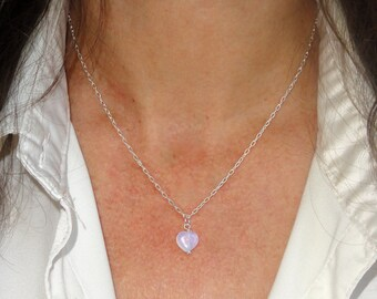 Sterling silver heart necklace, Silver heart opalite necklace, Delicate heart necklace, Sterling silver necklace,