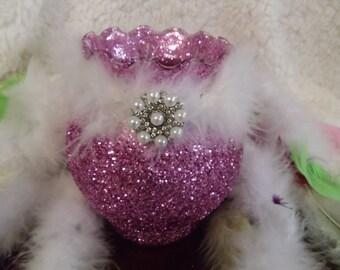 Glitter vase, pink wedding centerpiece, bridal shower,  birthday decor, glitter vase, reception decor, baby shower