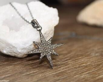 Pave Diamond Star Necklace, Starburst Necklace, Star Pendant, North Star, Genuine Diamonds