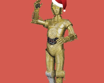 C3PO Christmas card Hand Drawn Star Wars Inspired Blank Card