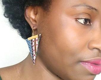 African kente triangle earrings