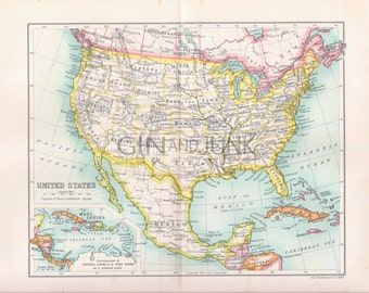 ANTIQUE MAP PRINT, America, American Map, Map of America, America Map, United States Map, United States of America, Mexico, Canada, Maps