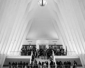 The interior of the Oculus, at the World Trade Center in Lower Manhattan, New York City. Photo Print, Metal, Canvas, Framed.