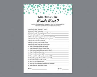 Who Knows the Bride Best, Seafoam green Bridal Shower Games, How Well Do You Know The Bride, Bachelorette Party, Wedding Shower, A018