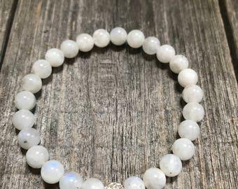 Moonstone Bracelet, Moon Jewelry, Rainbow Moonstone Bracelet, Mala Beads, Prayer Beads, Energy Crystals, Rainbow Moonstone, Wrist Mala