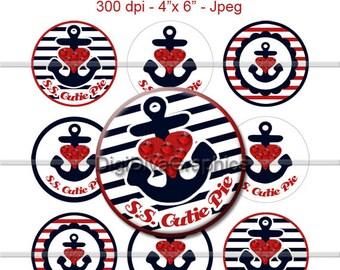 S.S. Cutie Pie Anchor Bottle Cap Images 1 Inch Circles Digital JPG - Instant Download - BC1048