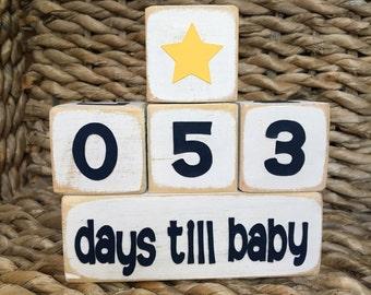 Days Till Baby Countdown Blocks-Customizable
