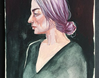 Woman with Purple Hair gouache painting