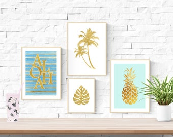 4 Tropical Prints | Aloha Palm Tree Palm Leaf & Pinapple | Modern Style | Faux Gold | Nursery Wall Art | Children's Play Room Decor Picture