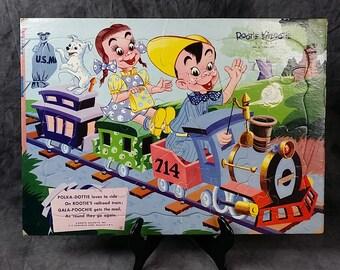 Puzzle - Vintage Rootie Kazootie Puzzle, Polka-Dottie and Gala=Poochie, Train Puzzle, 1950s