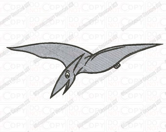 Pterodactyl Bird Dinosaur Embroidery Design in 2x2 3x3 4x4 and 5x7 Sizes