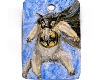 "Anteater Art -  Animal Art - Batman/Superhero Art - Original Miniature Painting - Kids Room Wall Decor - Stocking Stuffer - 2""x3"" mini art"