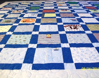"""Homemade Quilt, Baby Clothes Quilt, Patchwork Quilt, Queen Size 86"""" x 92"""", 218cm x 233cm (40 to 50 Clothing Items) - DEPOSIT LISTING (50%)"""