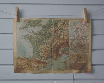 1930's Vintage Map of France