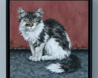 Kitten Painting Original Framed Art Cat Oil Painting Wall Art by Sarah Becktel