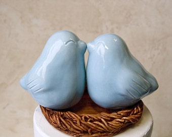 Celadon Blue Kissing Love Bird Cake Topper