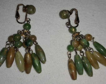 Lucite Green, Yellow and Brown Vintage Hong Kong Clip On Earrings