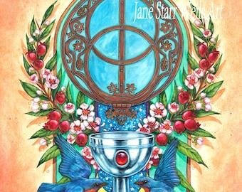 Chalice Well_Blue Birds_Rowan Tree by artist Jane Starr Weils